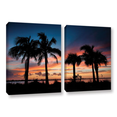Brushstone Tropical Sunset II 2-pc. Gallery Wrapped Canvas Wall Art