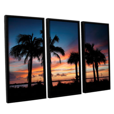 Tropical Sunset II 3-pc. Floater Framed Canvas Wall Art