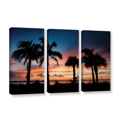 Brushstone Tropical Sunset II 3-pc. Gallery Wrapped Canvas Wall Art