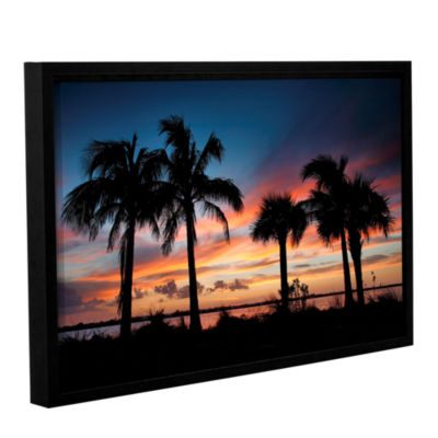 Brushstone Tropical Sunset II Gallery Wrapped Floater-Framed Canvas Wall Art