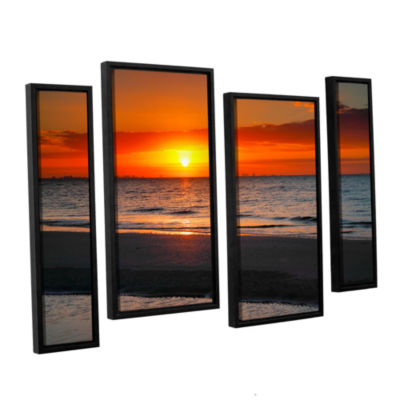Brushstone Sunrise Over Sanibel 4-pc. Floater Framed Staggered Canvas Wall Art