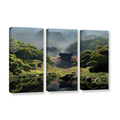 Brushstone Temple of Perpetual Autumn 3-pc. Gallery Wrapped Canvas Wall Art