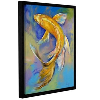 Brushstone Orenji Butterfly Koi Gallery Wrapped Floater-Framed Canvas Wall Art
