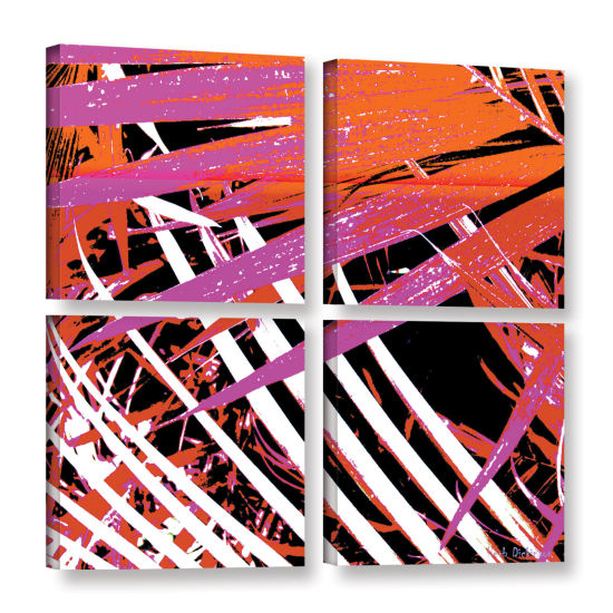 Brushstone Palms Away I 4-pc. Square Gallery Wrapped Canvas