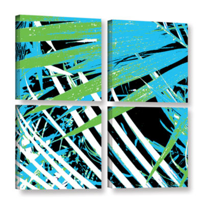 Brushstone Palms Away II 4-pc. Square Gallery Wrapped Canvas