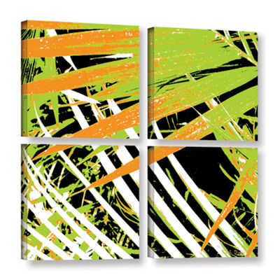 Brushstone Palms Away III 4-pc. Square Gallery Wrapped Canvas