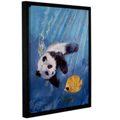 Brushstone Panda Diver Gallery Wrapped Floater-Framed Canvas Wall Art