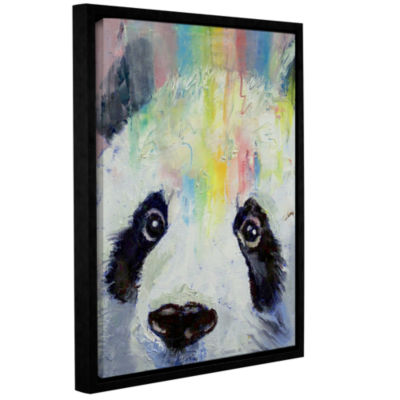 Brushstone Panda Rainbow Gallery Wrapped Floater-Framed Canvas Wall Art