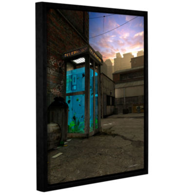 Brushstone Phone Booth Gallery Wrapped Floater-Framed Canvas Wall Art