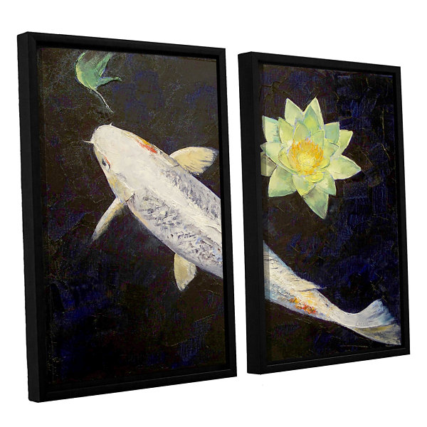 Brushstone Platinum Ogon Koi 2-pc. Floater FramedCanvas Wall Art