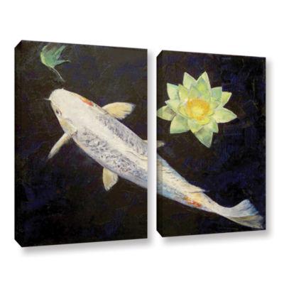 Brushstone Platinum Ogon Koi 2-pc. Gallery WrappedCanvas Wall Art