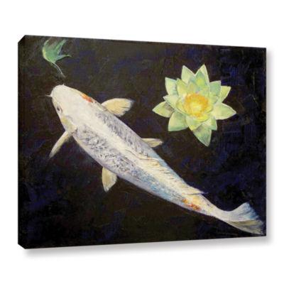 Brushstone Platinum Ogon Koi Gallery Wrapped Canvas Wall Art