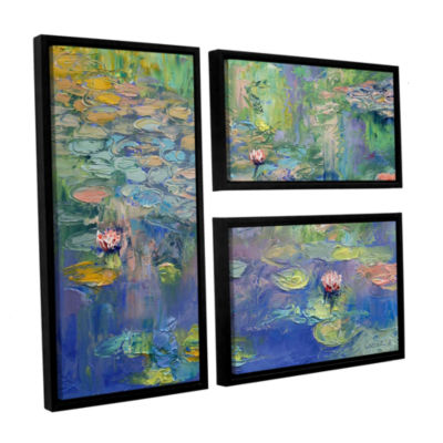 Brushstone Water 3-pc. Flag Floater Framed CanvasWall Art