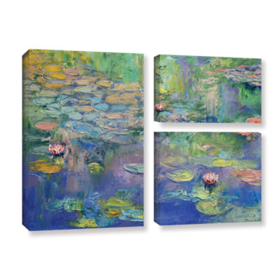 Brushstone Water 3-pc. Flag Gallery Wrapped CanvasWall Art