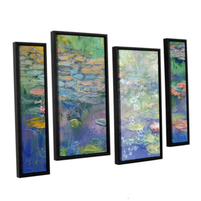 Brushstone Water 4-pc. Floater Framed Staggered Canvas Wall Art