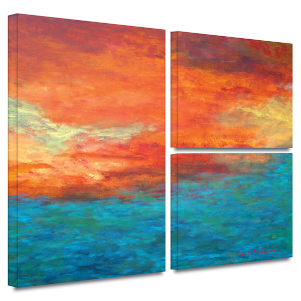 Brushstone Lake Reflections II 3-pc. Flag GalleryWrapped Canvas Wall Art