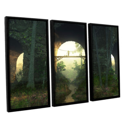 Brushstone Bridge Under The Bridge 3-pc. Floater Framed Canvas Wall Art