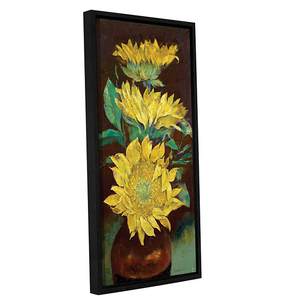 Brushstone Sunflowers Gallery Wrapped Floater-Framed Canvas Wall Art