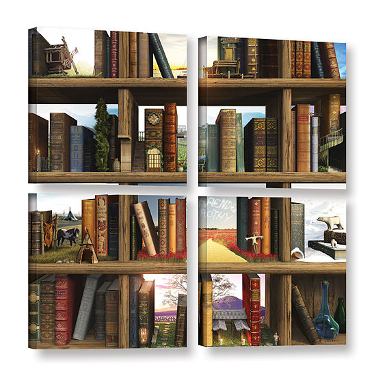 Brushstone Story World 4 Pc Square Gallery Wrapped Canvas