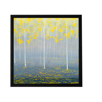 Brushstone Yellow Forest 2 Gallery Wrapped Floater-Framed Canvas Wall Art