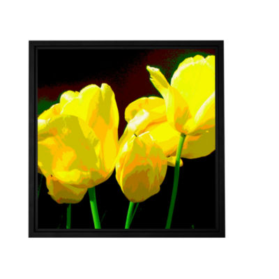 Brushstone Yellow Tulips 2 Gallery Wrapped Floater-Framed Canvas Wall Art