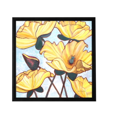 Brushstone Golden Blooms Gallery Wrapped Floater-Framed Canvas Wall Art