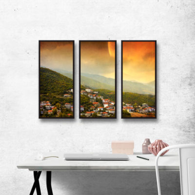Brushstone Red Dawn 3-pc. Floater Framed Canvas Wall Art
