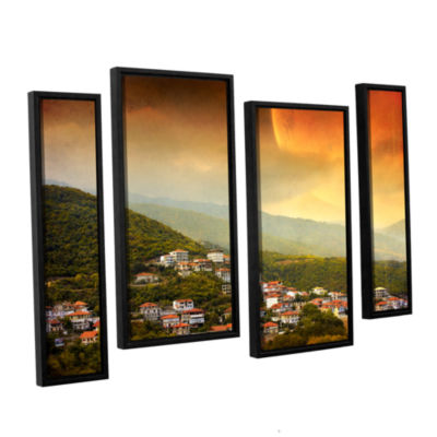 Brushstone Red Dawn 4-pc. Floater Framed StaggeredCanvas Wall Art