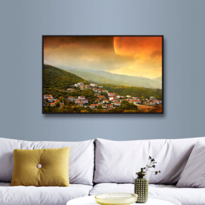 Brushstone Red Dawn Gallery Wrapped Floater-FramedCanvas Wall Art