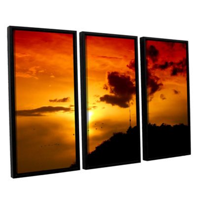 Brushstone Red Sky 3-pc. Floater Framed Canvas Wall Art