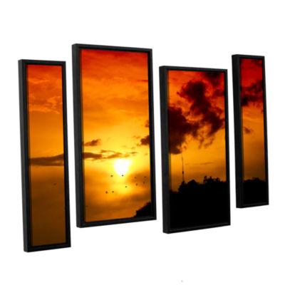 Brushstone Red Sky 4-pc. Floater Framed StaggeredCanvas Wall Art