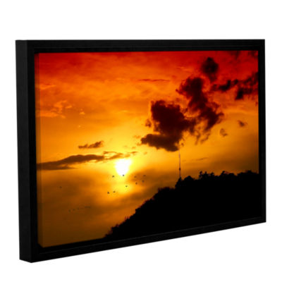 Brushstone Red Sky Gallery Wrapped Floater-FramedCanvas Wall Art