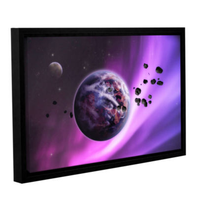 Brushstone Deep Purple Space Gallery Wrapped Floater-Framed Canvas Wall Art