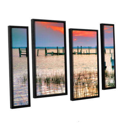 Brushstone Sunset Bay III 4-pc. Floater Framed Staggered Canvas Wall Art