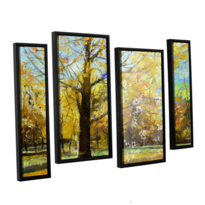 Brushstone Shades of Autumn 4-pc. Floater Framed Staggered Canvas Wall Art