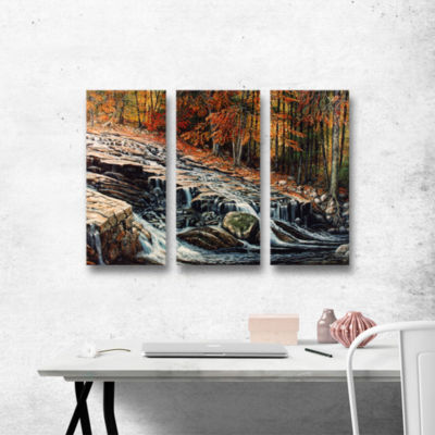 Brushstone Autumn Cascade 3-pc. Gallery Wrapped Canvas Wall Art
