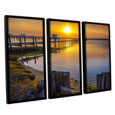 Brushstone Sunset Over Chincoteague 3-pc. FloaterFramed Canvas Wall Art