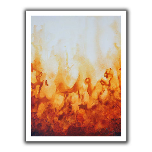 Brushstone Amber Flame Canvas Wall Art