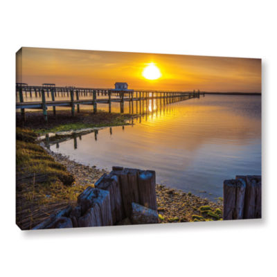 Brushstone Sunset Over Chincoteague Gallery Wrapped Canvas Wall Art