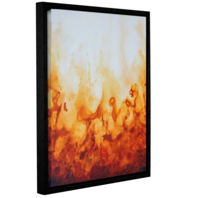 Brushstone Amber Flame Gallery Wrapped Floater-Framed Canvas Wall Art