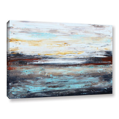 Brushstone Abstract Cold Gallery Wrapped Canvas Wall Art