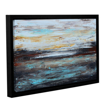Brushstone Abstract Cold Gallery Wrapped Floater-Framed Canvas Wall Art
