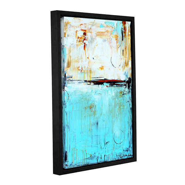 Brushstone Abstract in Blue Gallery Wrapped Floater-Framed Canvas Wall Art