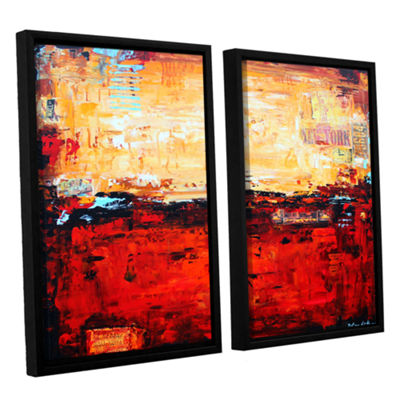 Brushstone Abstract Warm 2-pc. Floater Framed Canvas Wall Art