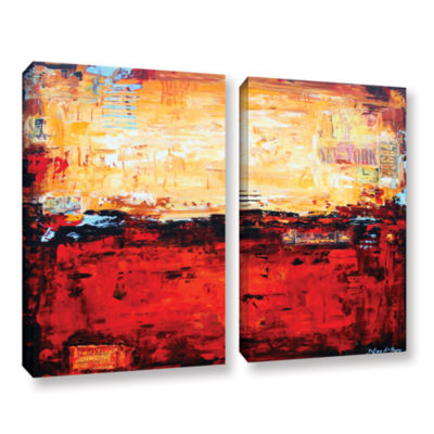 Brushstone Abstract Warm 2-pc. Gallery Wrapped Canvas Wall Art