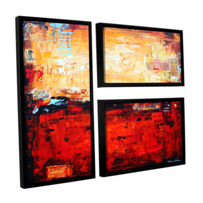 Brushstone Abstract Warm 3-pc. Flag Floater FramedCanvas Wall Art