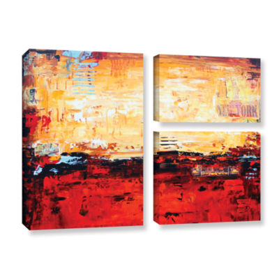 Abstract Warm 3-pc. Flag Gallery Wrapped Canvas Wall Art