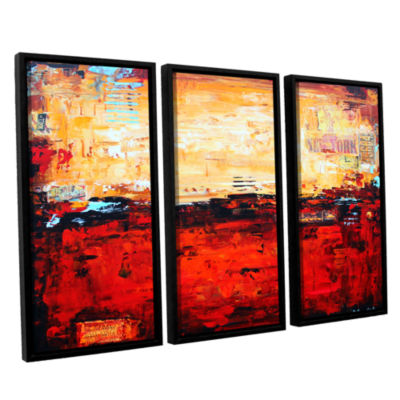 Brushstone Abstract Warm 3-pc. Floater Framed Canvas Wall Art