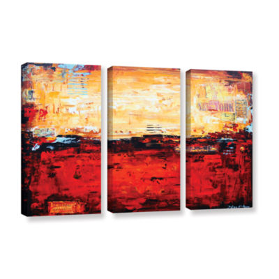 Brushstone Abstract Warm 3-pc. Gallery Wrapped Canvas Wall Art