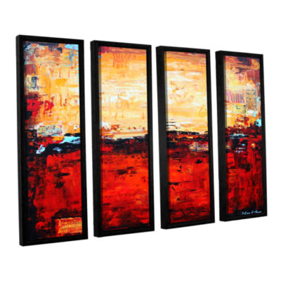 Brushstone Abstract Warm 4-pc. Floater Framed Canvas Wall Art